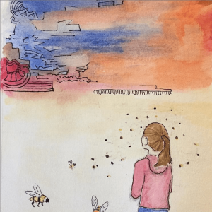 drawing-of-girl-looking-at-surreal-landscape-with-bees-surrounding-her
