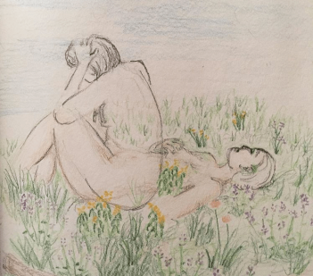 drawing-of-woman-lying-in-field-of-wildflowers