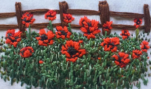 embroidery-of-wooden-fence-and-red-poppies