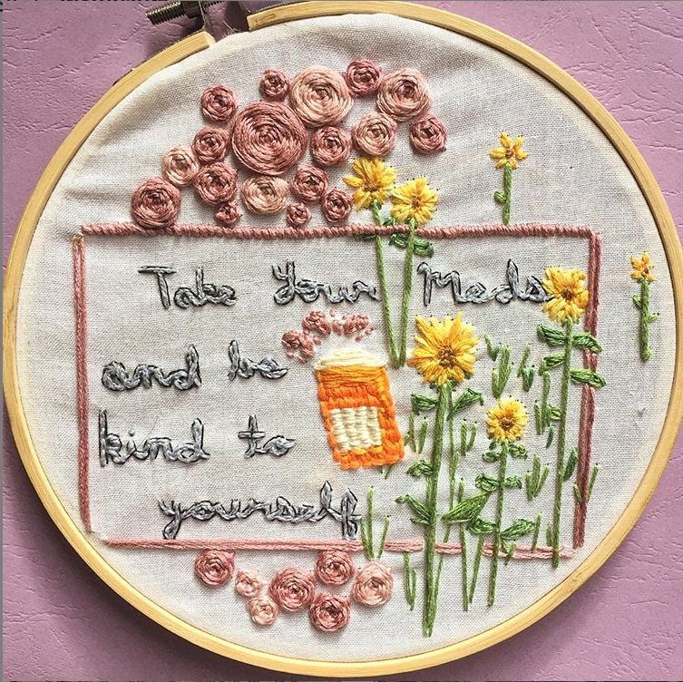 embroidery-hoop-with-words-take-your-meds-and-be-kind-to-yourself-with-flowers-and-pill-bottle