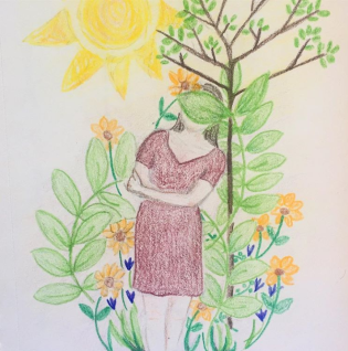 drawing of woman surrounded by plant growth
