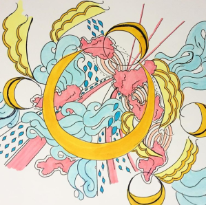 whimsical-drawing-of-yellow-blue-and-pink-shapes