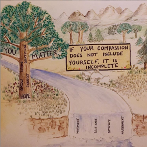 drawing of landscape with tree and river and words about self-compassion