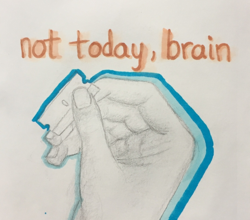 sketch-of-hand-holding-razor-blade-with-text-not-today-brain