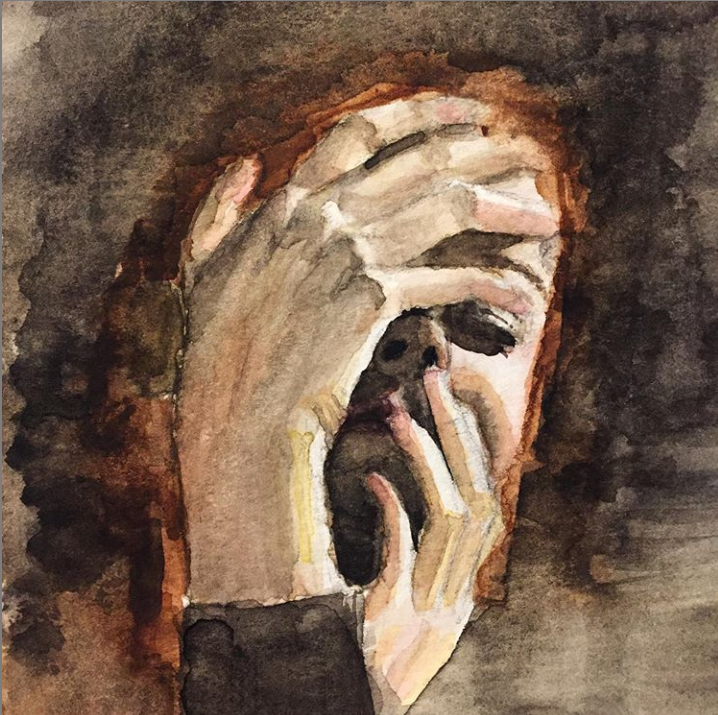 watercolor painting of woman's putting hands on face with eyes closed and dark background