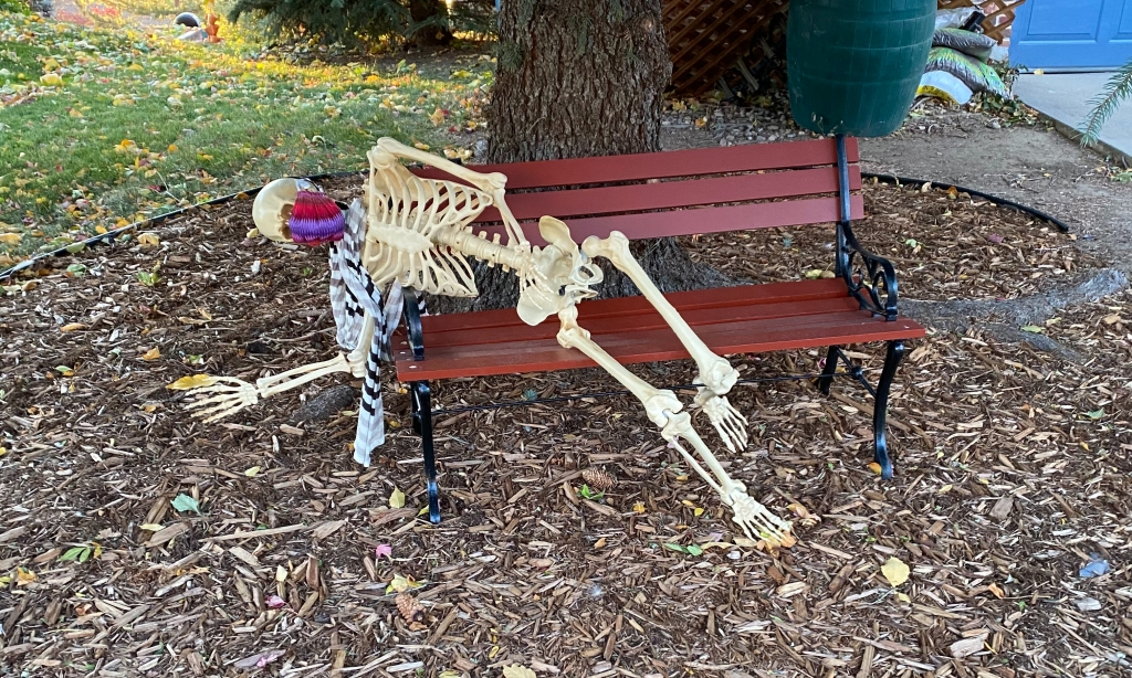 plastic-skeleton-wearing-scarf-and-cloth-mask-lying-on-red-park-bench