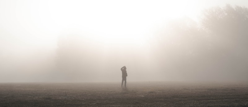 The silhouette of a person standing in a field in a thick fog.